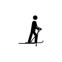 Skiing icon. Simple winter games icon. Can be used as web element, playing design icon