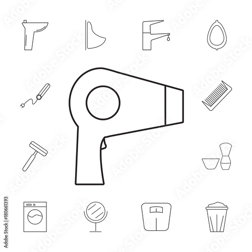 Hair Dryer Icon Set Of Bathroom Icons Signs Outline Symbols