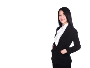 business woman smiling in suit standing relaxing and hand in pocket isolated on white background