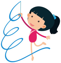 Girl playing gymnastic with ribbon