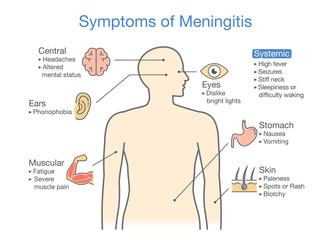 Symptoms of Meningitis patient. Diagram to showing signs of disease.