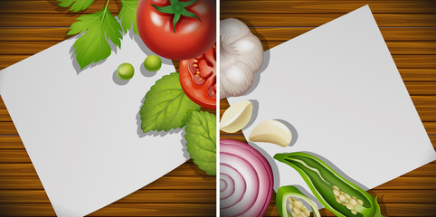 Two boards with fresh ingredients