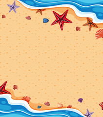 Background template with starfish on the beach