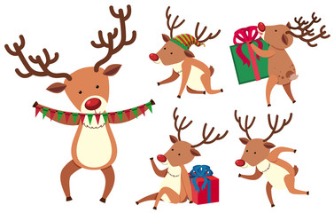 Christmas reindeer in different actions