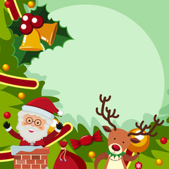 Border template with santa and reindeer