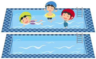 Kids swimming in swimming pool