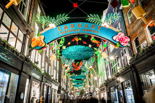 Christmas lights 2016 in Carnaby, London