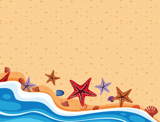Background scene with starfish on the shore