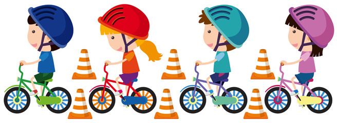 Children riding bike with helmet on