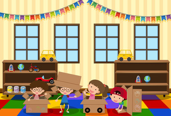 Happy children playing in the room