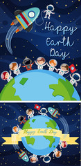 Happy earth day poster with kids in space