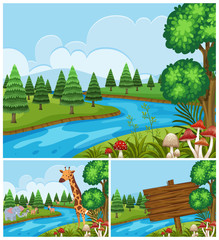 Background scenes with animals by the river