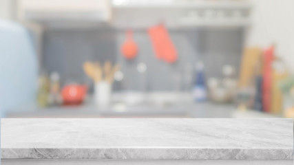 White stone table top and blurred kitchen interior background - can used for display or montage your products.
