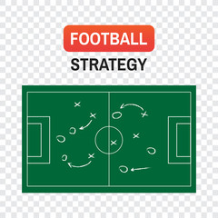 strategy football. Football or soccer game strategy plan isolated on blackboard texture with chalk rubbed background