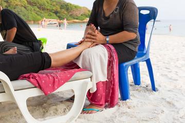 Massage oil foot.