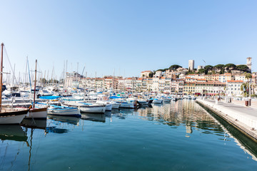 Harbor in Cannes, Cannes is Old city in French Riviera
