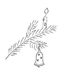 Christmas twig, candle and bell, vector icon, scribble