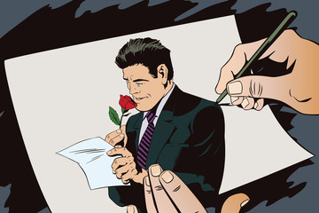 Happy man reading a letter and sniffing a flower. Stock illustration.