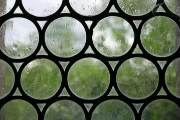 Fenster mit klaren Butzenscheiben, dahinter verschwommen grünes Laub
