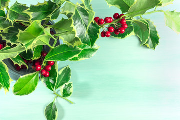Christmas background with holly leaves and copyspace
