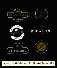 Set of logo type. Restaurant and Bakery vintage design elements and badges set