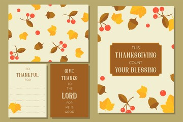 thanksgiving greeting card template and seamless pattern for fall season