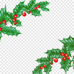 Christmas greeting card template background of holly leaf wreath and Christmas lights garland on New Year fir or pine tree decoration. Vector Christmas tree ornament for New Year winter holiday banner