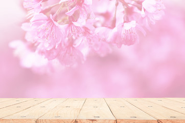 wood table top of pink cherry blossom flower. the background for product display template