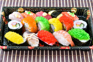 Sushi Set on tray in japanese food style