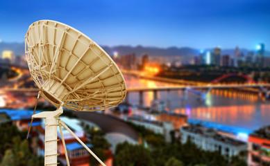 City night and box satellite dish
