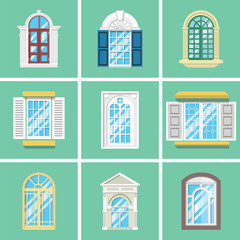 Retro window with wood frame on the wall with a lot of variation
