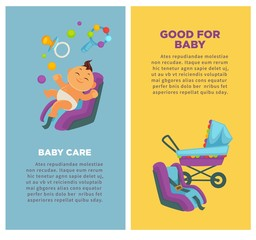 Motherhood baby care newborn child posters vector flat design