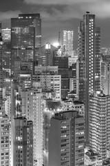 high rise buildings in Hong Kong city at night