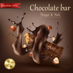 Vector realistic sweet chocolate bar with nougat, nuts and caramel wrapped in spiral melted chocolate isolated on brown. Chocolate bar ads, packaging design element, advertising poster template