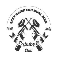 Paintball club sport game paint ball rifle gun mask target vector icon