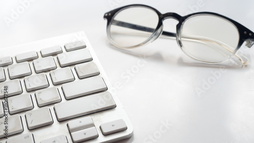 Wall mural keyboard topview with glasses