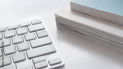 Wall mural keyboard close up with book