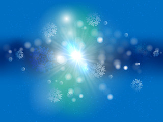 Christmas background blue sparkling  with sun star and snowflakes.