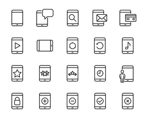 Simple collection of tablet related line icons.