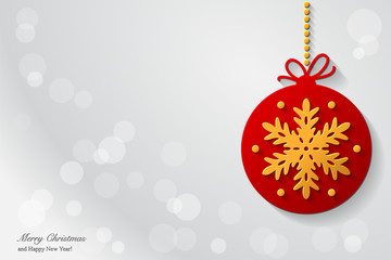 Christmas background design with christmas ball with golden snowflake.