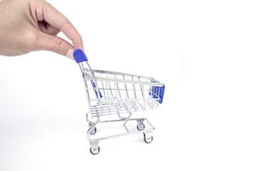 hand handle empty shopping cart isolated on white background
