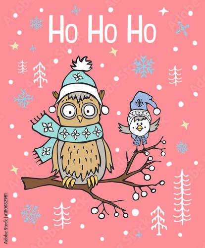 Winter xmas christmas happy new year greeting card with cute funny winter xmas christmas happy new year greeting card with cute funny arctic owl and bird sitting m4hsunfo