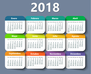 Calendar 2018 year vector design template in Spanish.