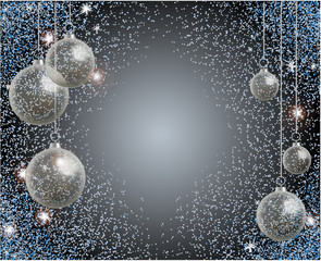 Holiday greeting card with blue sparkles and realistic transparent Christmas ball. New year toy.
