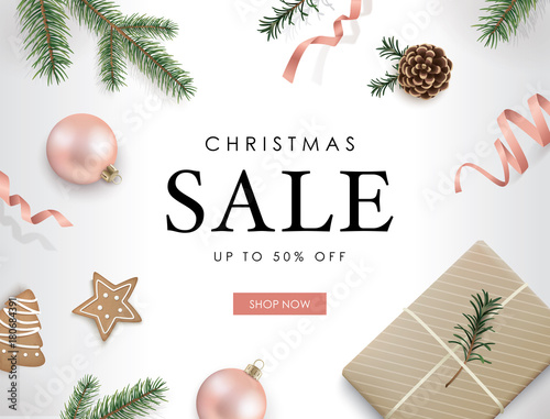 Christmas Sale Poster Template With Christmas Ornaments Ribbons