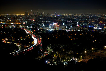 Downtown Los Angeles and Hollywood bowl Cityscape