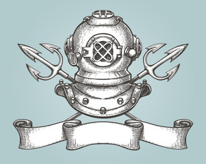 Diving helmet with tridents and ribbon