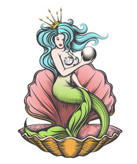 Mermaid with pearl in her hand