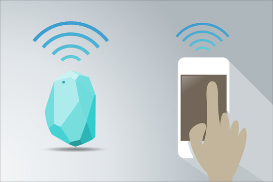 Vector Design beacon device home and office radar connect with smart phone. Use for all situations