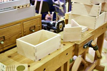 Wooden box in carpenter workshop